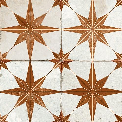 Scintilla Paprika Orange Star Pattern 45cm x 45cm Wall & Floor Tile