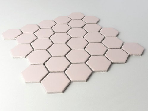 Hexagon Soft Pink Matt (5.1 cm x 5.9cm) 30cm x 28cm Mosaic Tile