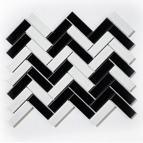 Herringbone Black and White Matt 31.8cm x 24.7cm Wall & Floor Mosaic