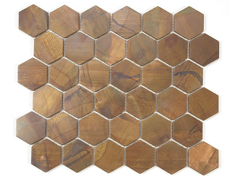 Hexagon Oxidised Rust (5.1cm x 5.9cm) 29.5cm x 30.5cm Mosaic Tile