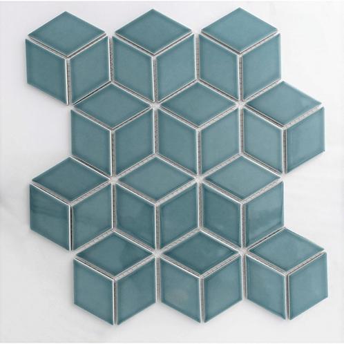 Rhombus Gloss Teal Mosaic 305mm x 265mm x 5mm