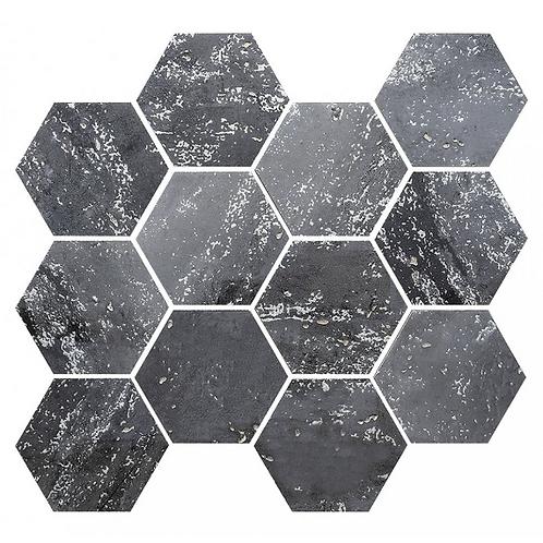 De-Lux Ash Hexagon Mosaic (7.2cm x 8.2cm) 26cm x 27.8cm Wall & Floor Tile