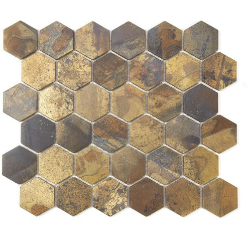 Hexagon Oxidised Gold (5.1cm x 5.9cm) 29.5cm x 30.5cm Mosaic Tile