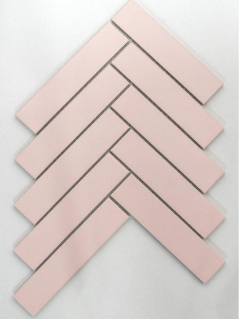 Herringbone Pink Matt 20.9cm x 24.7cm (3.2cmx 14.5cm) Wall Mosaic