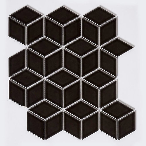 Rhombus Gloss Black Mosaic 266mm x 305mm x 5mm