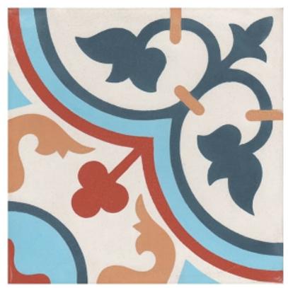 Vintage Aliso Red Blue 20cm x 20cm Wall & Floor Tile