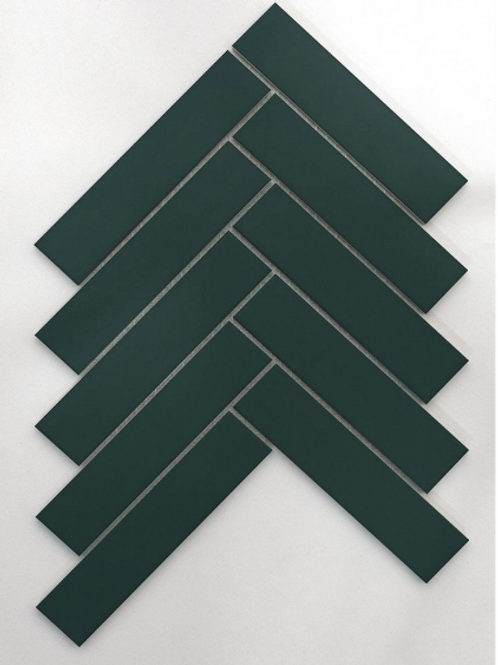 Herringbone Buckingham Green Matt 20.9cm x 24.7cm (3.2cmx 14.5cm) Wall & Floor M