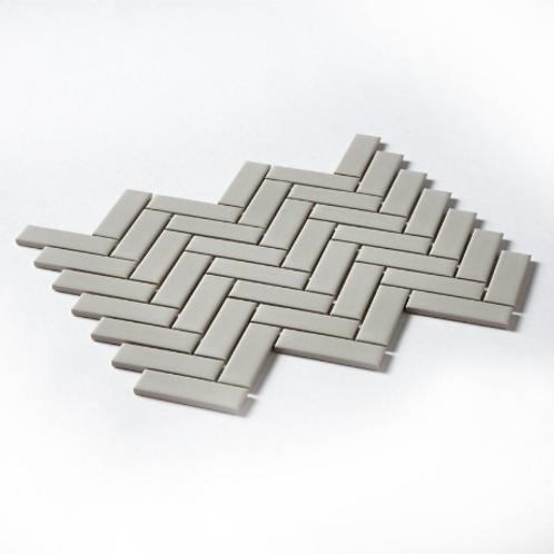 Herringbone Grey Matt 31.8cm x 24.7cm Wall & Floor Mosaic
