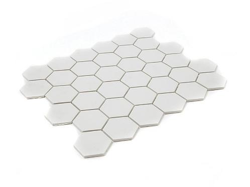 Full Body Hexagon Matt Off White Mosaic (5.1cm x 5.1cm) 32.5cm x 28.1cm Wall & F