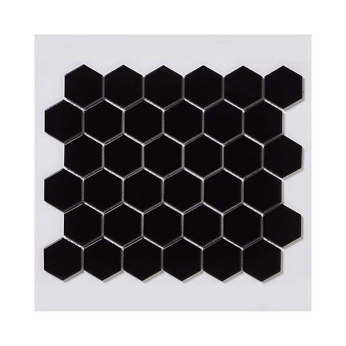 Black Hexagon Matt Porcelain Mosaic 320mm x 280mm x 5mm