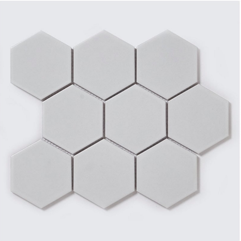 Hexagon Matt White Mosaic (9.5cm x 9.5cm) 25.6cm x 19.7cm Wall & Floor Tile