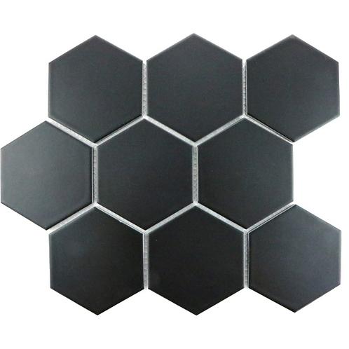Hexagon Matt Black Mosaic (9.5cm x 9.5cm) 25.6cm x 19.7cm Wall & Floor Tile