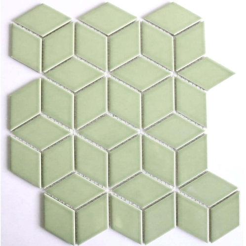 Rhombus Gloss Olive Green Mosaic 305mm x 265mm