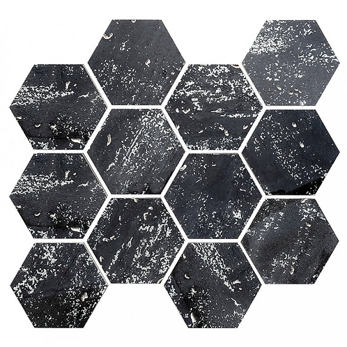 De-Lux Graphite Hexagon Mosaic (7.2cm x 8.2cm) 26cm x 27.8cm Wall & Floor Tile