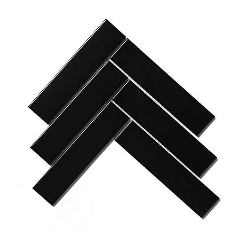 Herringbone Black Matt 20.4cm x 28cm (4.5cm x 19.5cm) Wall & Floor Mosaic