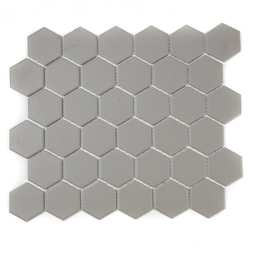 Full Body Hexagon Matt Medium Grey Mosaic (5.1cm x 5.1cm) 32.5cm x 28.1cm Wall &