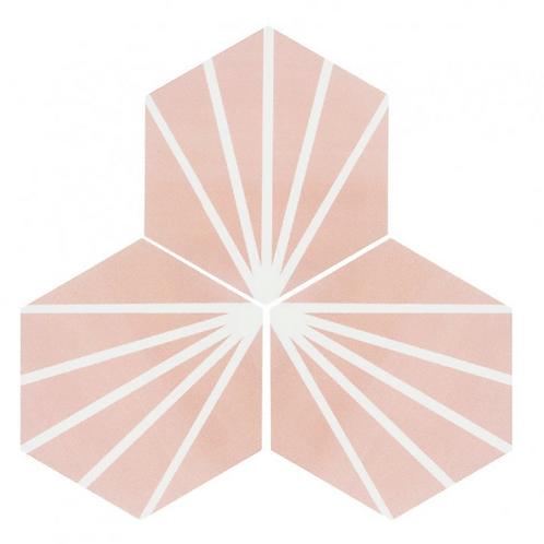 Lily Hex Hexagon Rose 22.8cm x 19.8cm Wall & Floor Tile