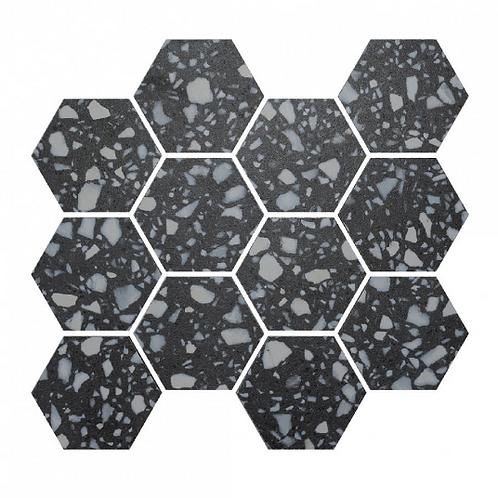 Terrazzo Hexagon Nero Mosaic 26cm x 27.8cm Wall & Floor Tile