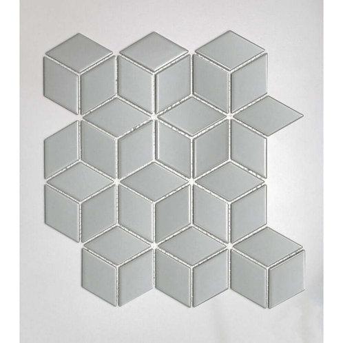 Rhombus Gloss Stone Grey Mosaic 305mm x 265mm x 5mm