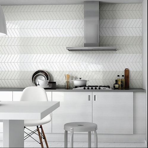 Chevron Mint Left 18.6 x 5.2cm Wall Tile