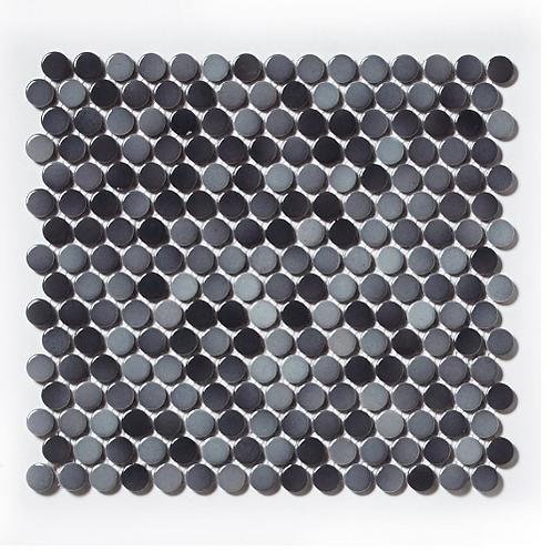 Victorian Penny Gloss Grey Mix 30cm x 30cm Porcelain Mosaic Tile