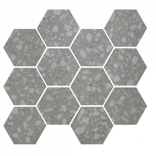Terrazzo Hexagon Light Grey Mosaic 26cm x 27.8cm Wall & Floor Tile
