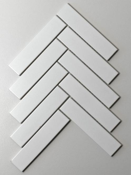 Herringbone White Matt 20.9cm x 24.7cm (3.2cm x 14.5cm) Wall Mosaic