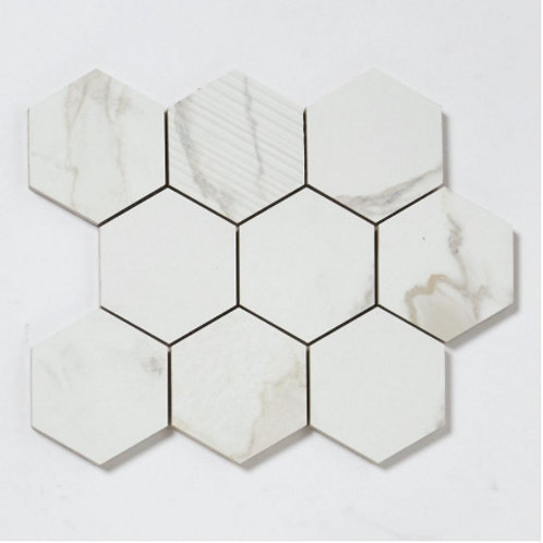 Q-Marmi Calacatta Hexagon Mosaic (9.5cm x 9.5cm) 29.2cm x 34.1cm Wall & Floor Ti
