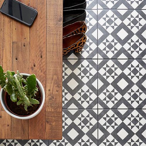 Retro Black & White Matt  Porcelain Wall & Floor  331mm x 331mm x 7mm