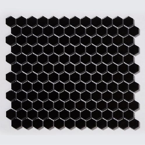 Hexagon Gloss Black (2.3cm x 2.3cm) 30cm x 26cm Mosaic Tile