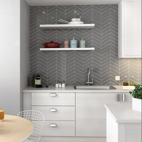 Chevron Dark Grey Left 18.6 x 5.2cm Wall Tile
