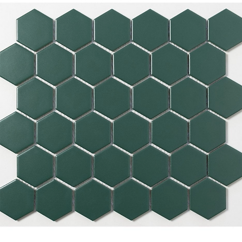 Hexagon Buckingham Green Matt (5.1cm x 5.1cm) 30cm x 28cm Mosaic Tile