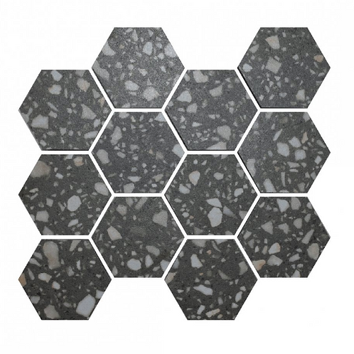 Terrazzo Hexagon Dark Grey Mosaic 26cm x 27.8cm Wall & Floor Tile