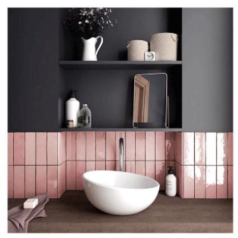 Artisan Rose Mallow 6.5cm x 20cm Wall Tile