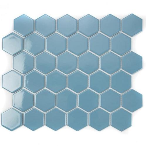 Hexagon Teal Gloss (5.1cm x 5.1cm) 32.5cm x 28.1cm Mosaic Tile