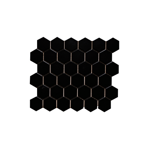Black Hexagon Gloss Porcelain Mosaic