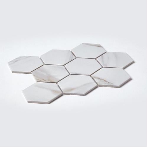 Hexagon Calacatta Matt (9.5cm x 9.5cm) 25.6cm x 19.7cm Mosaic Tile