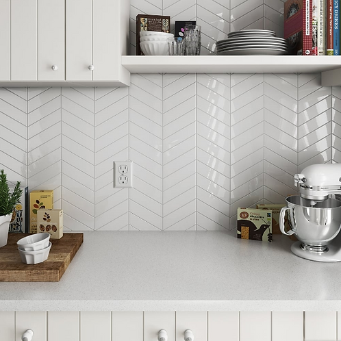 Chevron White Left 18.6 x 5.2cm Wall Tile