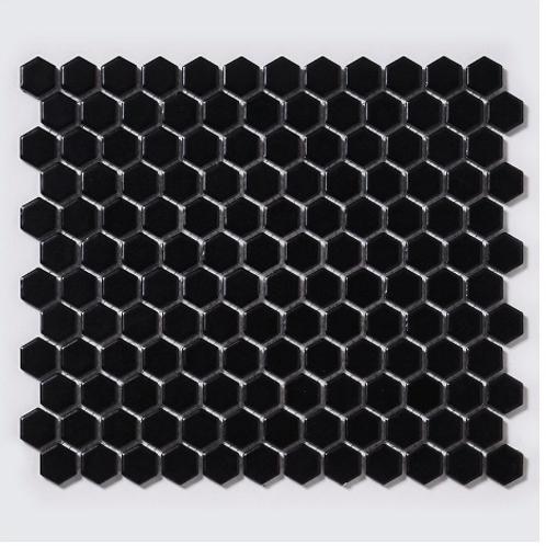 Hexagon Matt Black (2.3cm x 2.3cm) 30cm x 26cm Mosaic Tile