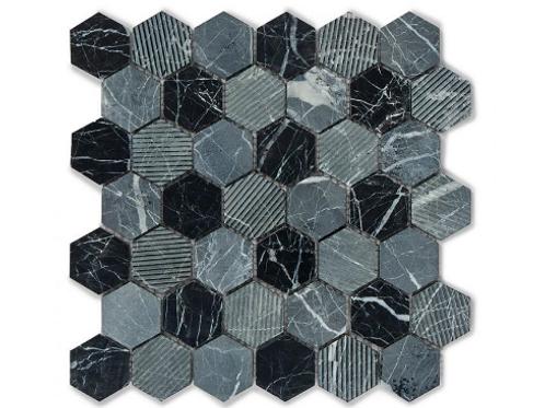 Hexagon Midnight Marble (4.8cm x 4.8cm) 30cm x 30cm Mosaic Tile