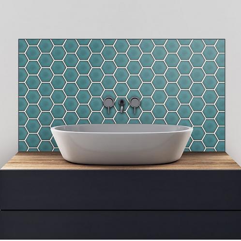 Hexagon Gloss Teal 25.6cm x 19.7cm (9.5cm x 9.5cm) Wall Mosaic