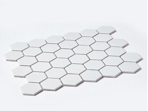 Hexagon Matt White (5.1 cm x 5.9cm) 30cm x 28cm Mosaic Tile