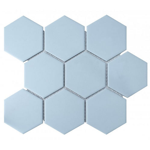 Hexagon Matt Blue Mosaic (9.5cm x 9.5cm) 29.5cm x 25.6cm Wall & Floor Tile