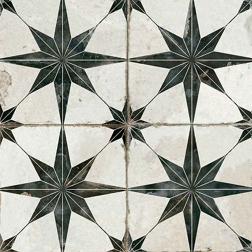 Scintilla Black Star Pattern 45cm x 45cm Wall & Floor Tile