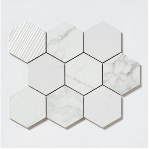 Q-Marmi Statuario Hexagon Mix Stone Mosaic (9.5cm x 9.5cm) 29.2cm x 34.1cm Wall