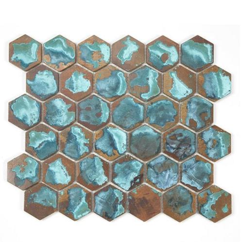 Hexagon Oxidised Forest (5.1cm x 5.9cm) 29.5cm x 30.5cm Mosaic Tile