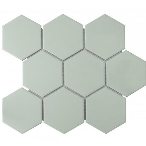 Hexagon Matt Green Mosaic (9.5cm x 9.5cm) 29.5cm x 25.6cm Wall & Floor Tile
