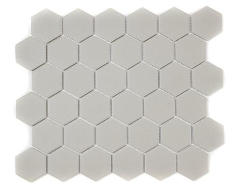 Full Body Hexagon Matt Light Grey Mosaic (5.1cm x 5.1cm) 32.5cm x 28.1cm Wall &