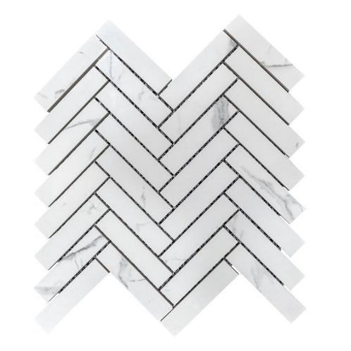 Q Marmi Calacatta Herringbone 28cm x 29.2cm Wall & Floor Mosaic