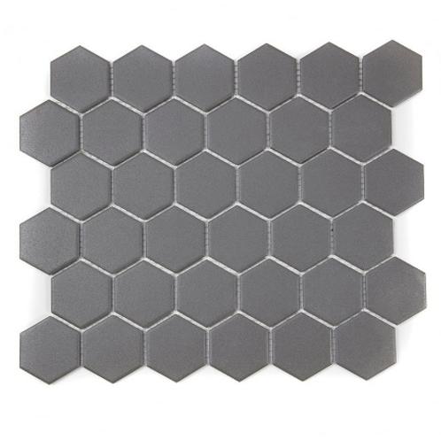 Full Body Hexagon Matt Dark Grey Mosaic (5.1cm x 5.1cm) 32.5cm x 28.1cm Wall & F